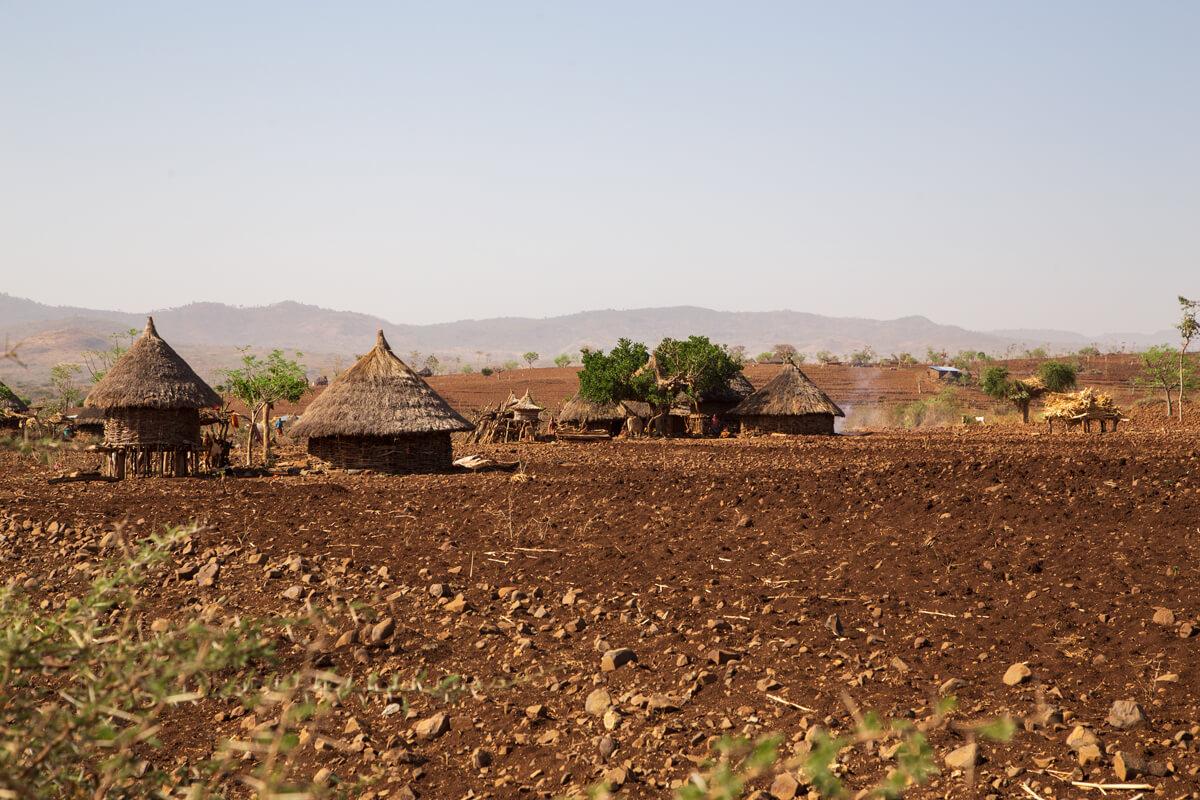 hut-village-clay-soil-fields-ethiopia-adventuresinethiopia