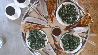 Ethiopia-Konso-lunch-local-bread-ambasha-moringa-traveling