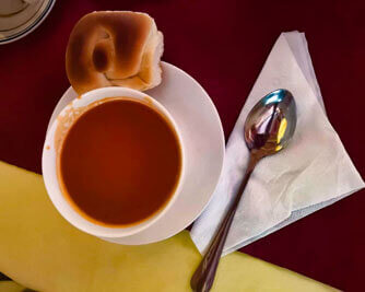 Restaurant-Addis Ababa-traditional-meal-tomatoes-soup-lockal-bread