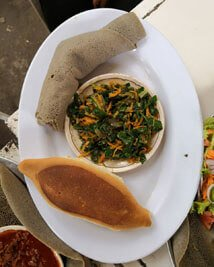 Ethiopia-meal-vegetables-bread-injera-local